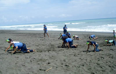 Kids took part in a turtle race as part of the festival