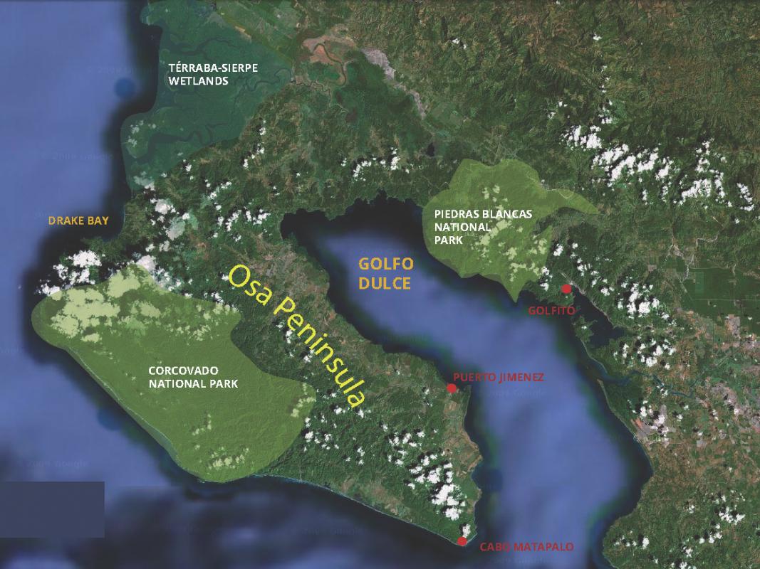 corcovado map, osa peninsula