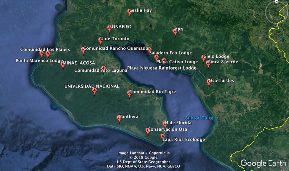 """Osa Camera Trap Network"" members (not showing researchers Johanna Hurtado & Adolfo Artavia)"