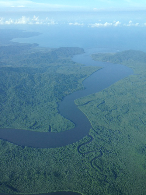 The mouth of the Sierpe River, part of the Térraba-Sierpe National Wetlands.