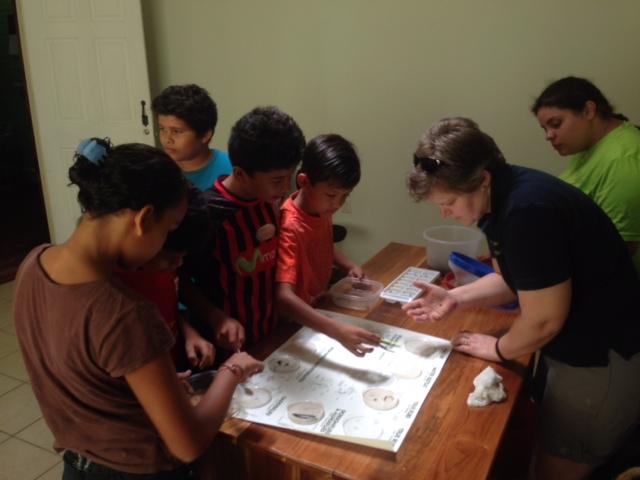 Los estudiantes comparan las muestras tomadas de Río Piro contra muestras de la colección de referencia de OC.