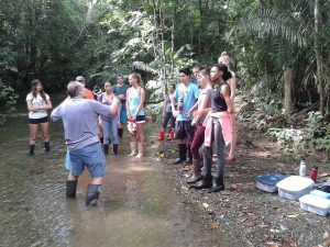 "Students receive a ""creek talk"" about the local Osa Ecosystem."