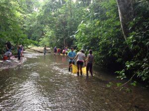 Estudiantes trabajan en grupos usando reds para recoger macroinvertebrados que luego servirán para evaluar la calidad de agua en el rio.