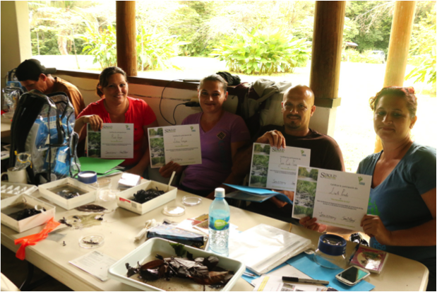 Community members proudly showing off their certificates for successfully completing the workshop. Photo by, Erin Engbeck